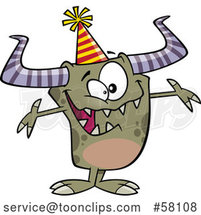 Happy Cartoon Monster Wearing a Party Hat and Welcoming by Toonaday