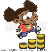 Cartoon Girl Running up a Stack of Coins by Toonaday