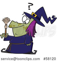 Cartoon Witch Looking at a Tiny Broom by Toonaday