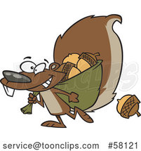 Cartoon Squirrel Gathering Acorns by Toonaday
