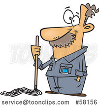 Cartoon Caretaker or Janitor Custodian Guy with a Mop by Toonaday