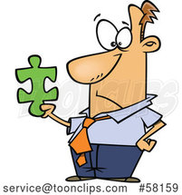 Cartoon Businessman Holding a Puzzle Piece by Toonaday
