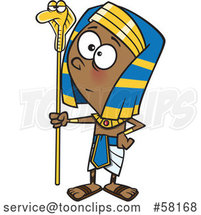 Cartoon Pharaoh Boy Holding a Snake Staff by Toonaday