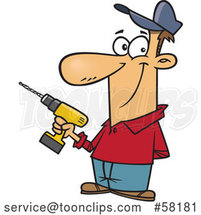 Cartoon White Handyman Holding a Cordless Drill by Toonaday