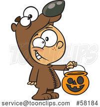 Cartoon White Boy in a Bear Halloween Costume, Holding out a Trick or Treat Pumpkin Bucket by Toonaday