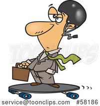 White Cartoon Businessman on a Longboard by Toonaday