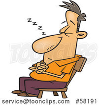 Cartoon White Guy Nodding off in a Chair by Toonaday