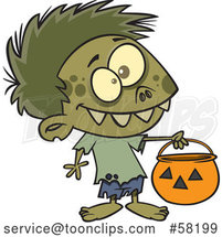 Cartoon Zombie Boy in a Bear Halloween Costume, Holding out a Trick or Treat Pumpkin Bucket by Toonaday