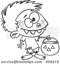 Cartoon Outline of Zombie Boy in a Bear Halloween Costume, Holding out a Trick or Treat Pumpkin Bucket by Toonaday