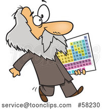 Cartoon Guy, Dmitri Mendeleev, Carrying the Periodic Table of Elements by Toonaday