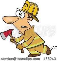 Cartoon White Fire Fighter Holding an Axe by Toonaday
