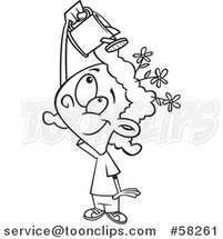 Cartoon Outline of Girl Watering Flowers on Her Head, Mind Growth by Toonaday