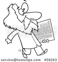 Cartoon Outline of Guy, Dmitri Mendeleev, Carrying the Periodic Table of Elements by Toonaday