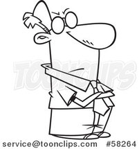 Cartoon Outline of Impatient Businessman with Folded Arms by Toonaday