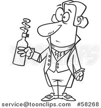 Cartoon Outline of Guy, Antoine Lavoisier, Holding a Bottle by Toonaday