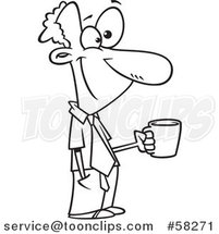 Cartoon Outline of Happy Businessman Taking a Coffee Break by Toonaday