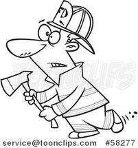 Cartoon Outline of Fire Fighter Holding an Axe by Toonaday