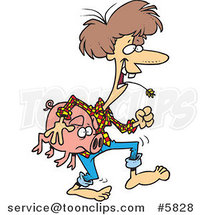 Cartoon Female Hillbilly Carrying a Pig by Toonaday