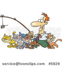 Cartoon Business Man Herding Cats by Ron Leishman