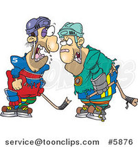 Cartoon Fighting Hockey Players by Ron Leishman
