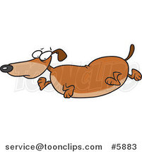 Cartoon Obese Wiener Dog by Ron Leishman