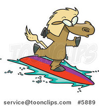 Cartoon Surfing Horse by Ron Leishman