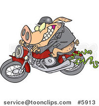 Cartoon Biker Pig by Ron Leishman