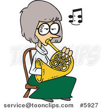 Cartoon Lady Playing a French Horn by Ron Leishman