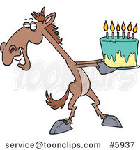 Cartoon Horse Presenting a Birthday Cake by Ron Leishman