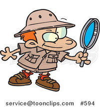 Cartoon Archaeology Boy Using a Magnifying Glass by Toonaday