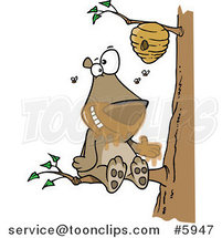 Cartoon Bear Sitting on a Branch and Getting Honey by Ron Leishman