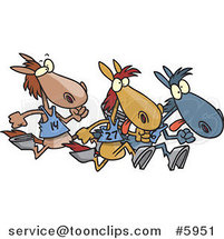 Cartoon Racing Horses by Ron Leishman