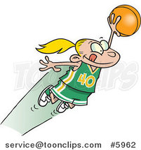 Cartoon Girl Leaping with a Basketball by Ron Leishman
