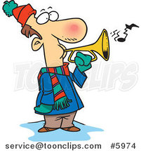 Cartoon Winter Guy Playing a Horn by Ron Leishman