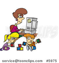 Cartoon Lady Working on Her Computer As Her Kids Play by Ron Leishman