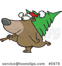 Cartoon Bear Carrying a Christmas Tree by Ron Leishman