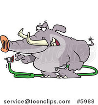 Cartoon Elephant Turning a Hose on by Ron Leishman