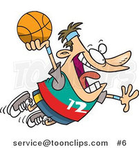 Cartoon White Guy About to Dunk a Basketball by Ron Leishman