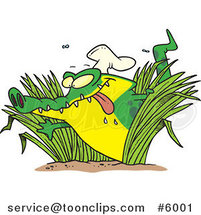 Cartoon Hungry Chef Gator in Grasses by Ron Leishman