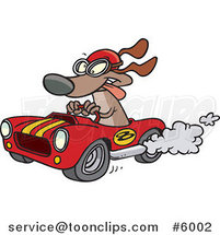 Cartoon Dog Racing a Hot Rod by Ron Leishman
