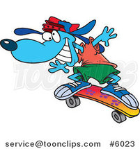 Cartoon Blue Skateboarding Dog by Ron Leishman