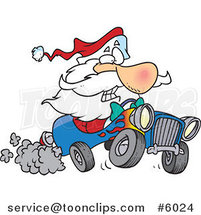 Cartoon Santa Driving a Hot Rod by Ron Leishman