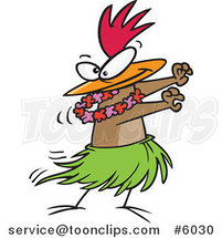 Cartoon Chicken Hula Dancing by Ron Leishman
