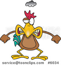 Cartoon Mad Chicken by Ron Leishman