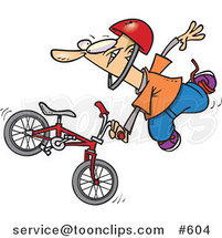 Cartoon Extreme BMX Biker Doing a Trick by Ron Leishman