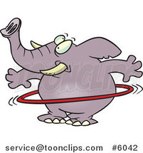 Cartoon Elephant Using a Hula Hoop by Ron Leishman