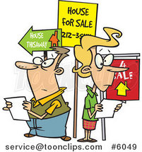 Cartoon Couple House Hunting by Ron Leishman