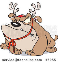 Cartoon Grouchy Bulldog Wearing Antlers by Ron Leishman
