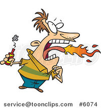 Cartoon Firey Mouthed Guy with Hot Sauce by Ron Leishman