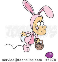 Cartoon Boy Hopping in an Easter Bunny Costume by Ron Leishman